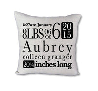 CUSTOM Baby stats - pillow cover