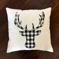 Black Gingham Deer - pillow cover