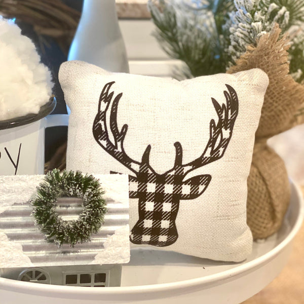 Tiered Tray Mini Pillow | Gingham Deer | Farmhouse Tiered Tray Decor | Christmas Tiered Tray Decor