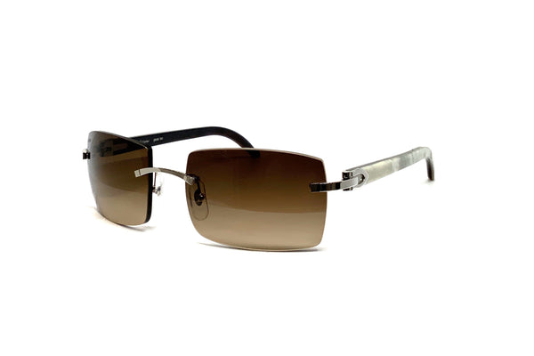 Cartier - CT0019RS 001 (P) White/Grey Buffalo Horn (Brown Gradient Lens)