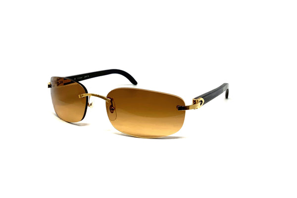 Cartier CT0020RS 001 (G) Black Buffalo Horn (Brown Gradient Lens)