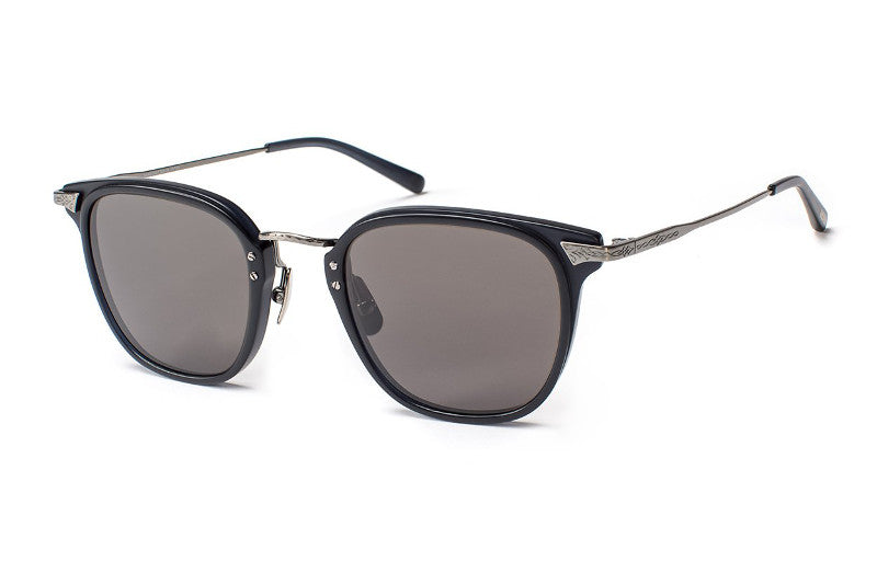 Matte True Navy Antique Silver / Polarized CR39 Black Lens