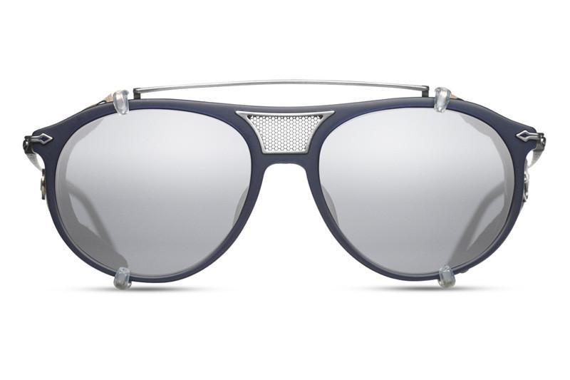 Navy/Brushed Silver w/ Grey Silver Flash Lens