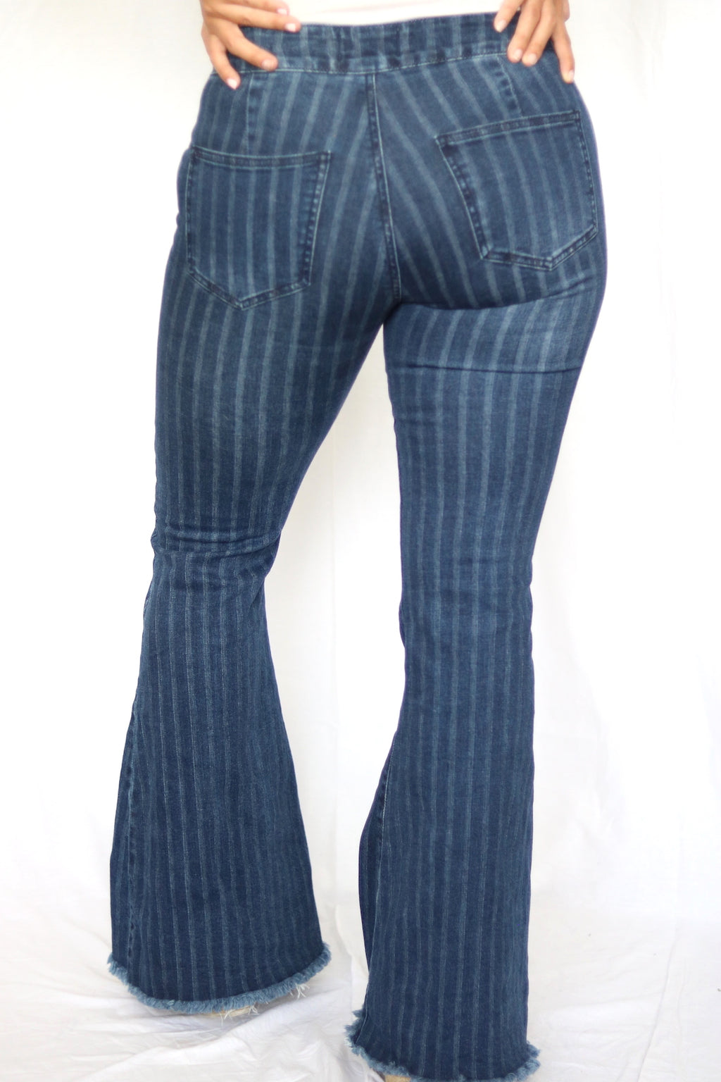 Pinstripe Flare Jeans