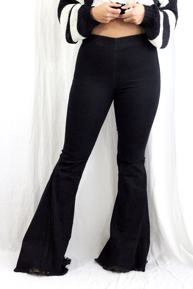 Black Denim Flares