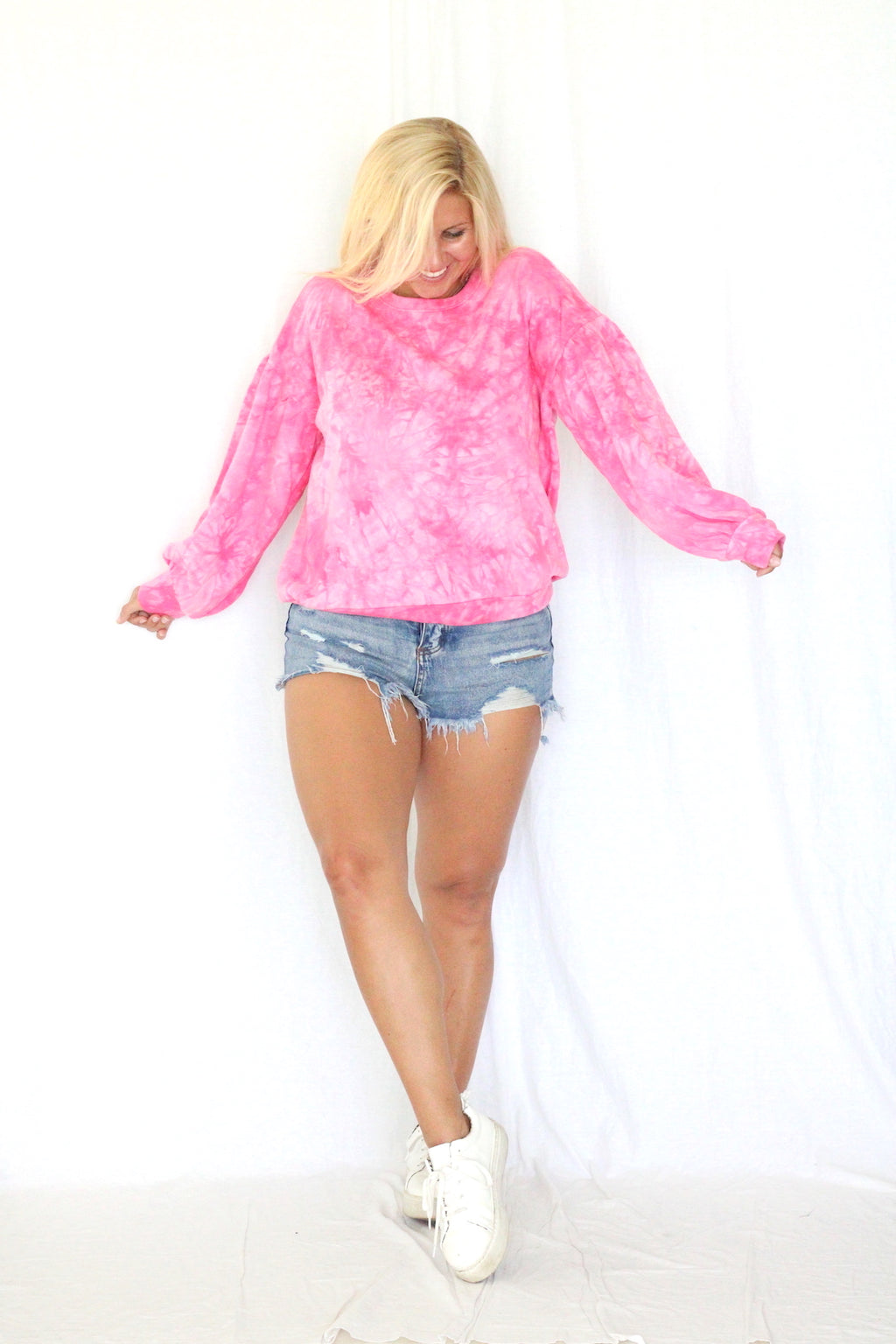 Bubblegum Tie Dye Sweatshirt- Hot Pink