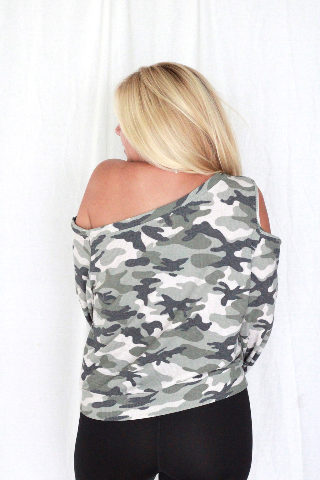 Camo One Shoulder Thermal Top