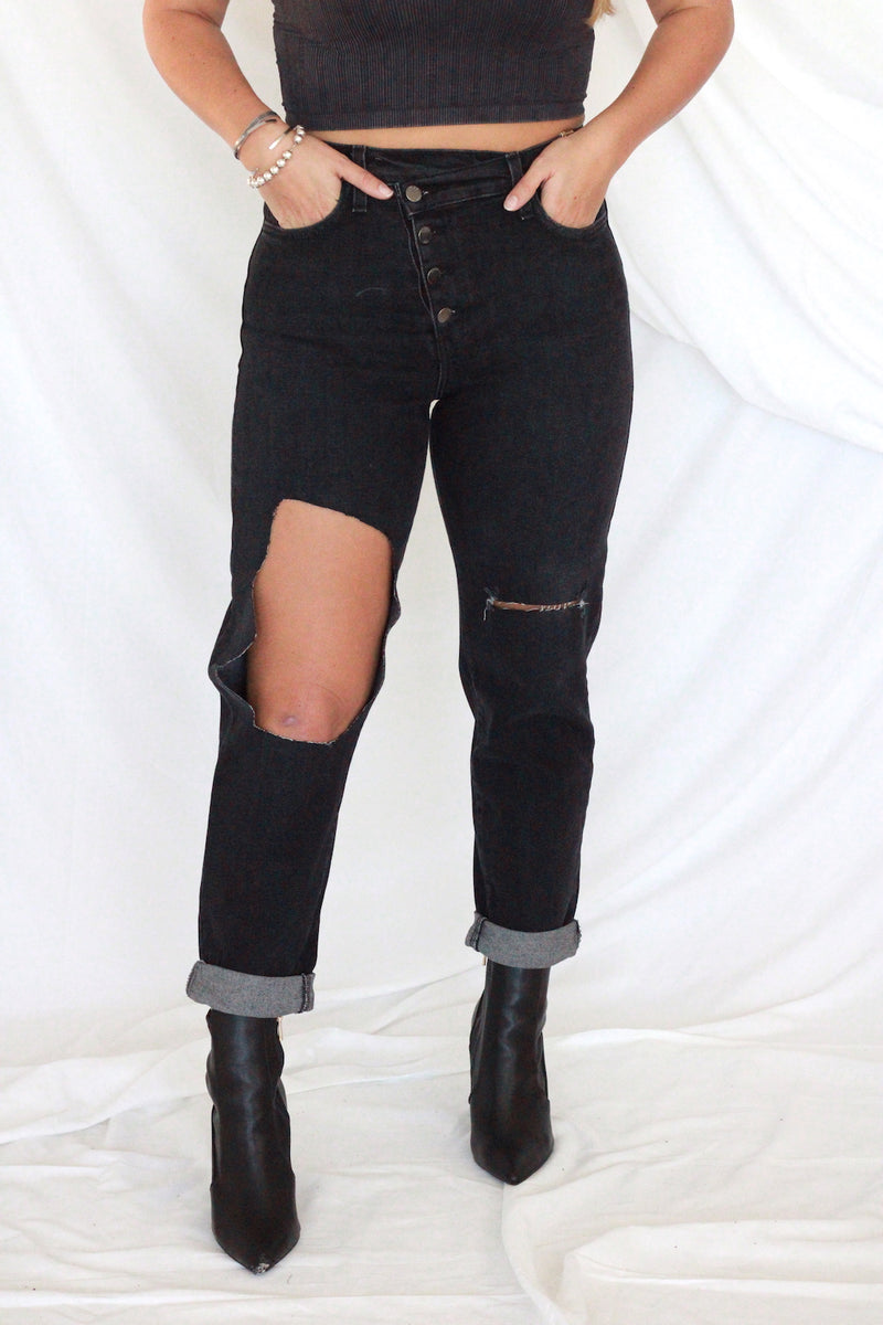 Vintage Washed Black Denim Jeans