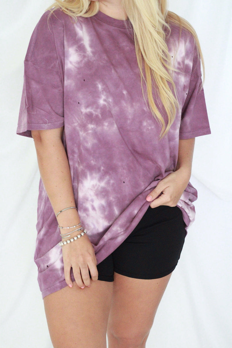 Oversized Tie Dye Tee- Purple