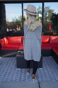 Off the Shoulder Oversized Sweater in Grey