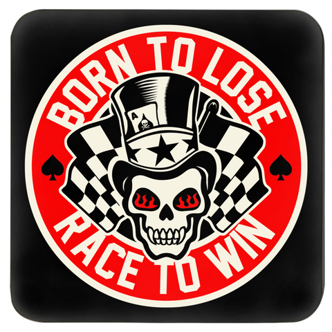 High on Octane® Race to Win Top Hat Skull Coasters