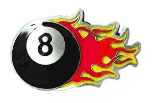 Eight Ball Flame Buckle (red/yellow)