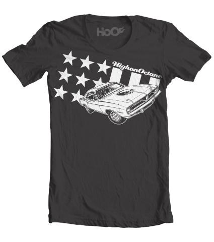 Men's HoO High on Octane All American Cuda Stars and Stripes Muscle Car T-Shirt (Color Options)