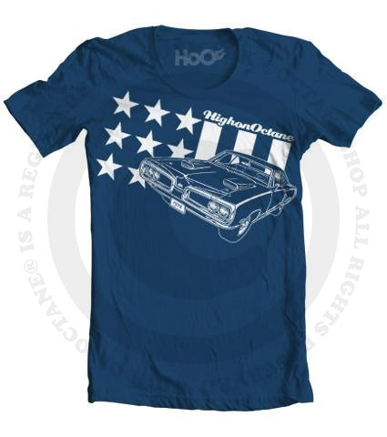 Men's HoO High on Octane All American Super Bee Stars and Stripes Muscle Car T-Shirt (Color Options)