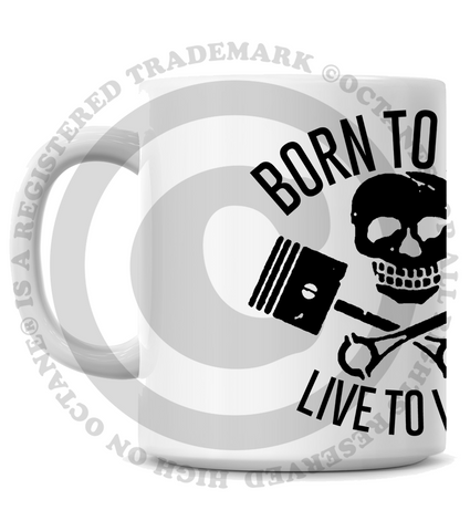 HoO High on Octane's  Born to Lose Live to Win Skull and Pistons Coffee Mug
