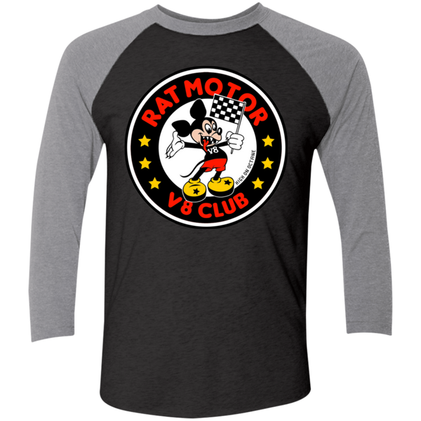 Unisex High on Octane® Rat Motor Tri-Blend 3/4 Sleeve Baseball Raglan T-Shirt