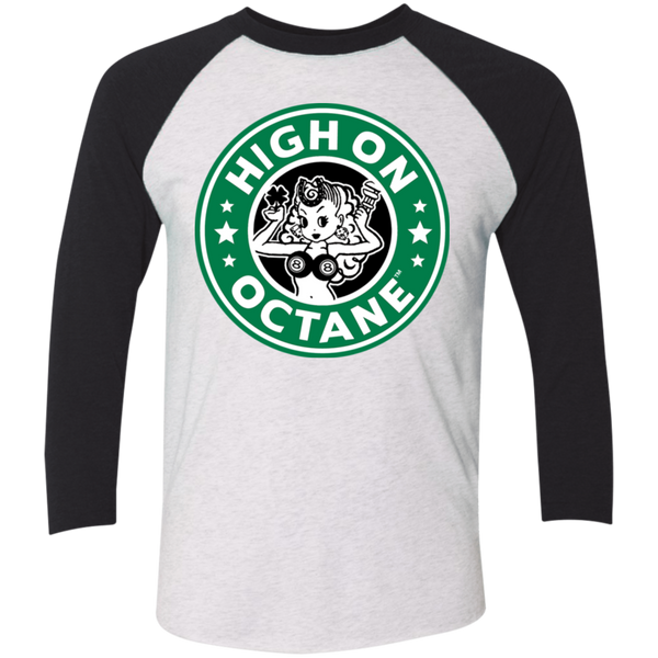 Unisex High on Octane® Daily Grind Tri-Blend 3/4 Sleeve Baseball Raglan T-Shirt