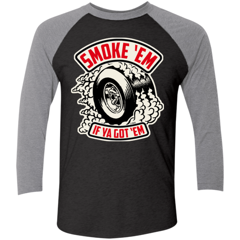 Unisex High on Octane® Smoke 'Em Tri-Blend 3/4 Sleeve Baseball Raglan T-Shirt