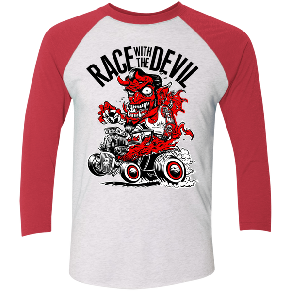 Unisex Race With The Devil® Hot Rod Devil Tri-Blend 3/4 Sleeve Baseball Raglan T-Shirt