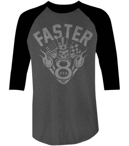 Unisex High on Octane® Faster V8 USA© Raglan