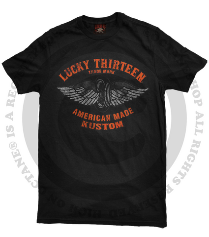 Lucky 13 Thirteen American Made Kustom Black T-Shirt