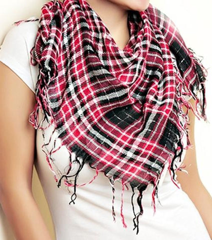 Women's School Girl Punk Plaid Fringe Scarf (Color Options)