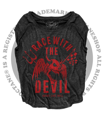 "Women's Race With The Devil ""Demon Skull"" Loose Fit Short Sleeve Top"