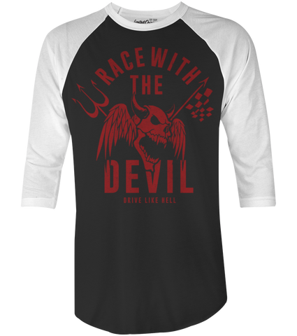 "Men's Race With The Devil ""Demon Skull"" Raglan"