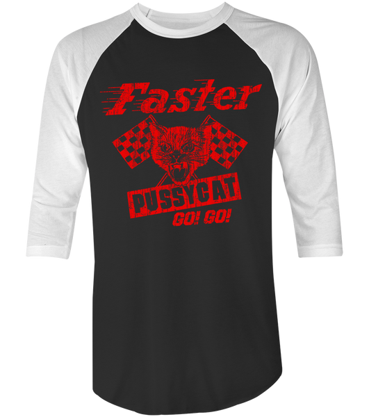 Men's HoO High on Octane Faster Racing Pussycat Go-Go Vintage Racing Raglan