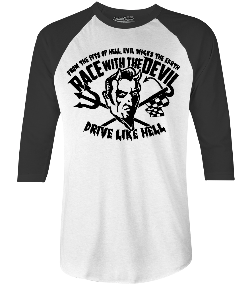 "Men's Race With The Devil ""Puff Print"" Oval Raglan"