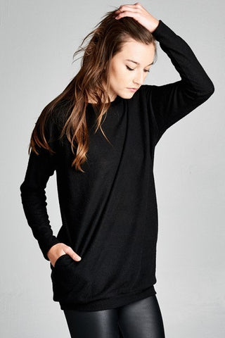 Women's Loose Fit Long Sleeve Fashion Tunic Sweater Top