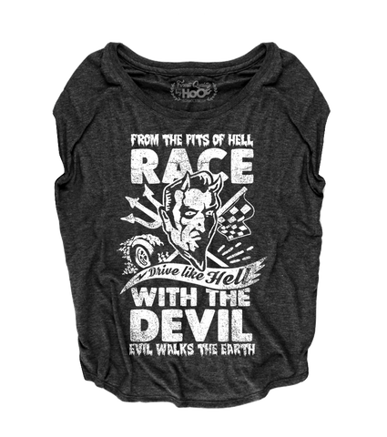 "Women's Race With The Devil ""Vince Ray Scratch Devil"" Loose Fit Short Sleeve Top"
