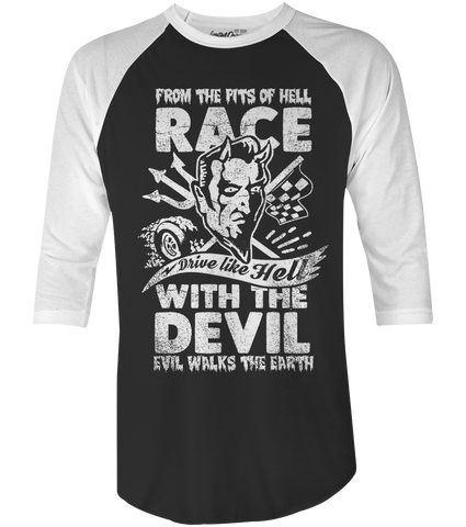 "Men's Race With The Devil ""Vince Ray Scratch Devil"" Raglan"