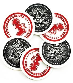 MotorBrands Skull and Hot Rod Girl Coaster Set
