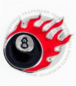 Eight Ball Flame Buckle (red)