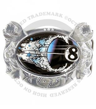 Flying Eight Ball Metal Belt Buckle (D. Vincente)