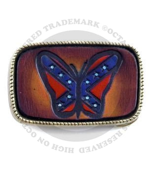 Leather Butterfly Seventies Style Belt Buckle