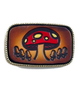 Leather Mushroom Seventies Style Belt Buckle