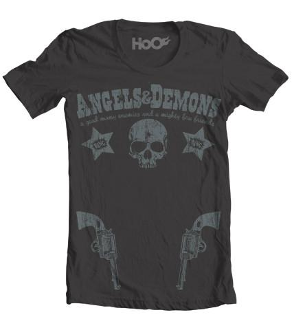 Women's HoO High on Octane  Angels Demons Pistol Graphic T-Shirt