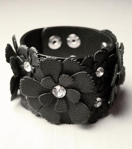 Black Leather Flower Wristband (Large Flowers)