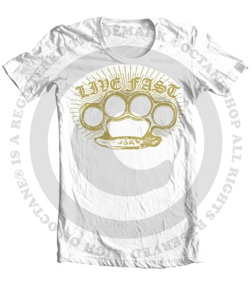 Men's HoO High on Octane Live Fast Brass Knuckles T-Shirt (Color Options)
