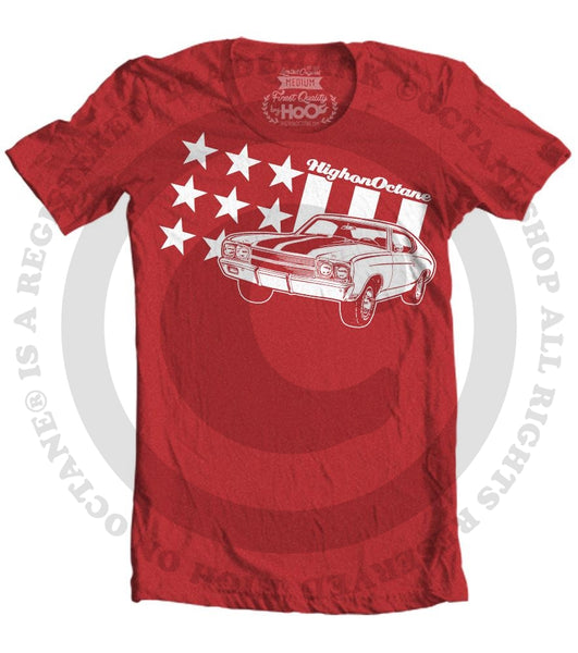Men's HoO High on Octane All American Chevelle Stars and Stripes Muscle Car T-Shirt (Color Options)