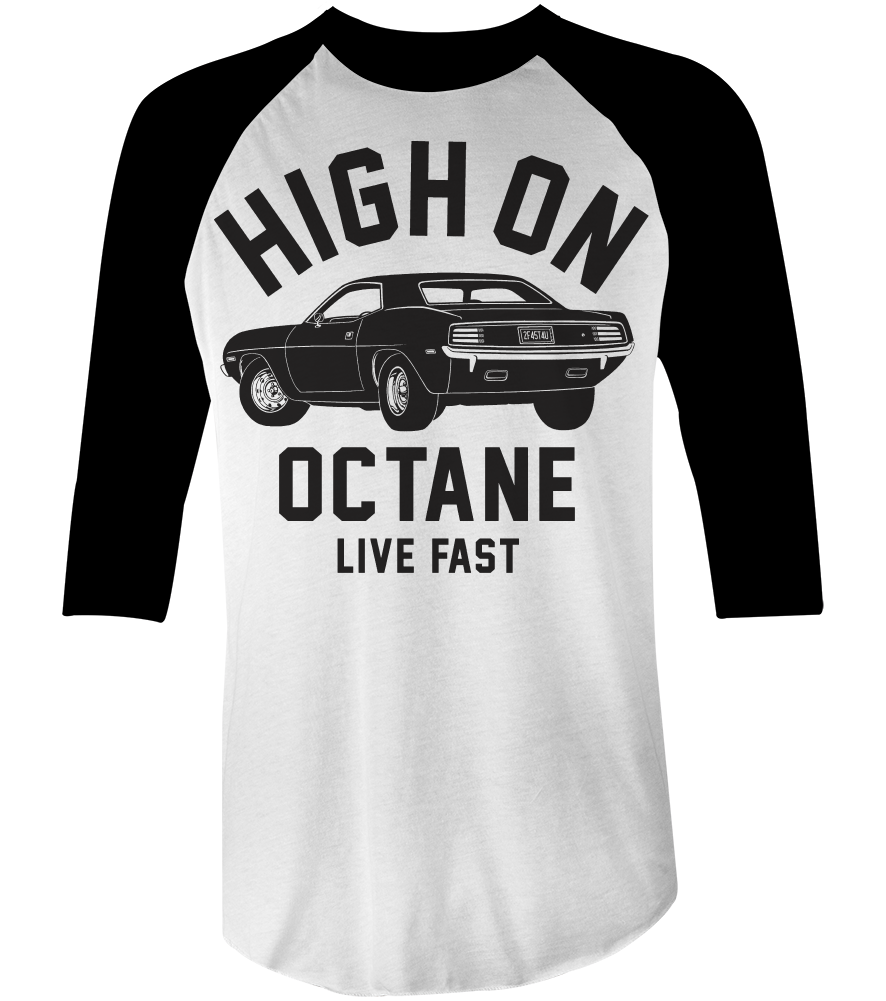 Men's High on Octane® Big Block Cuda Muscle Car© Raglan