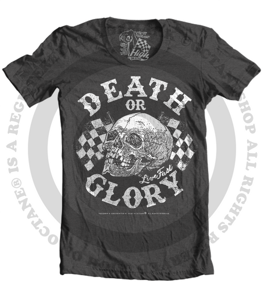 Unisex High on Octane® Gothic Racing Death or Glory Skull© T-Shirt