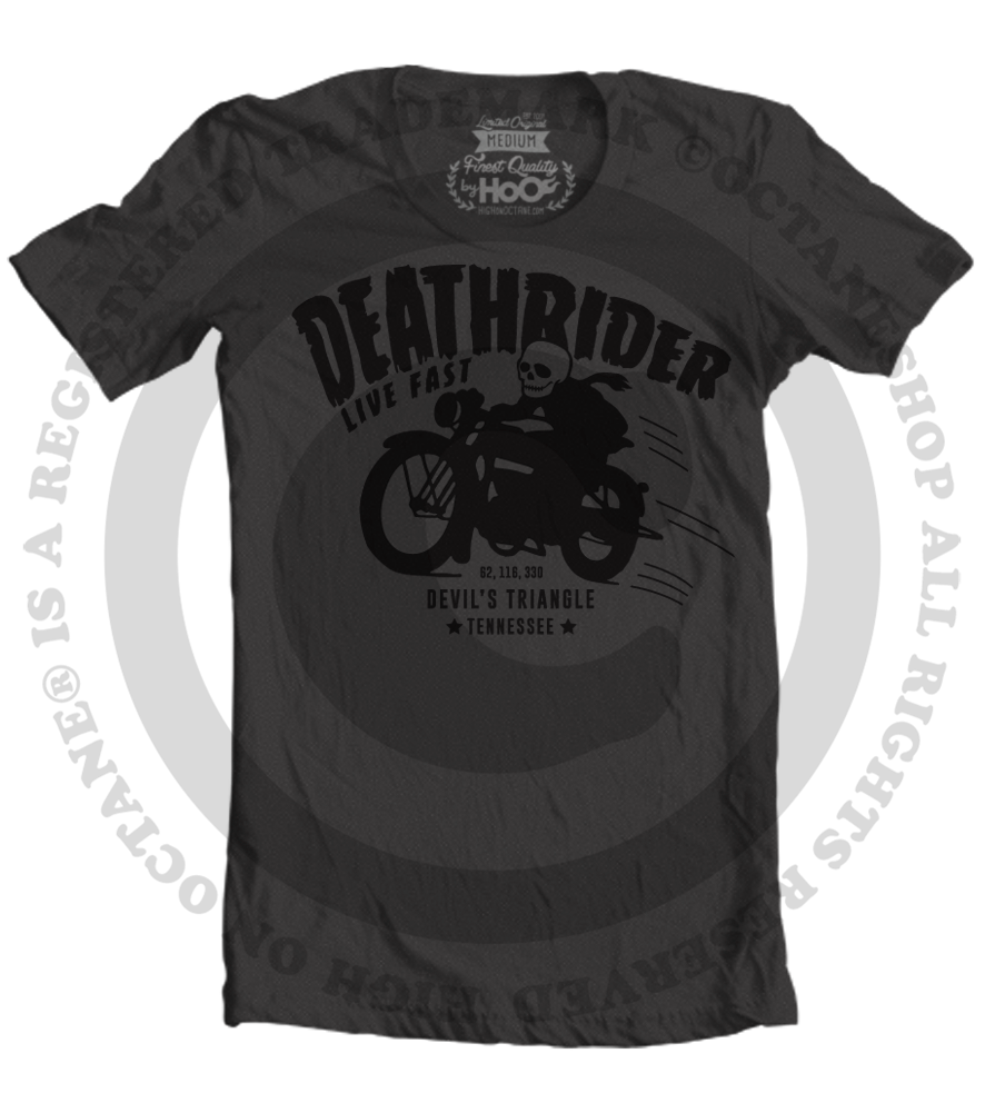Men's High on Octane® Black Deathrider Devil's Triangle© T-Shirt (Black)