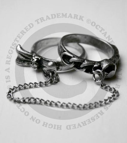 Antique Silver Double Chain Ring