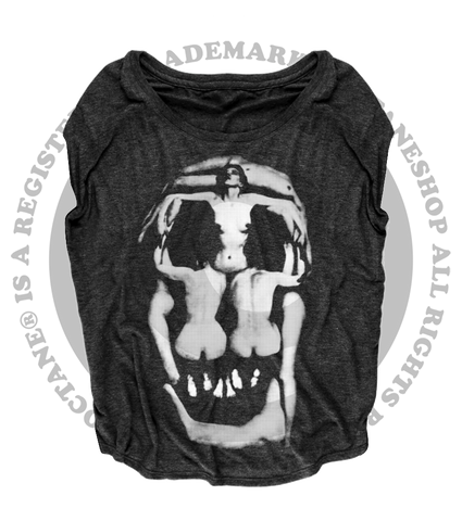 Women's HoO High on Octane Dali Skull Graphic Loose Fit Short Sleeve Top