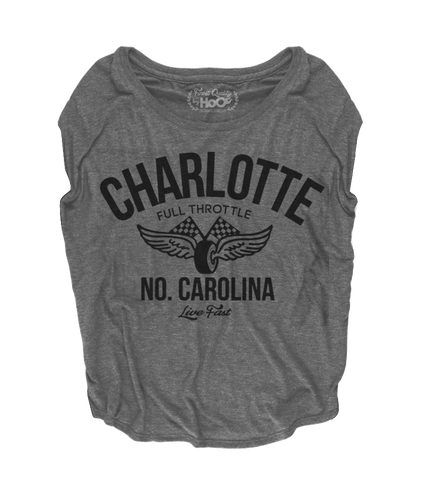 Women's HoO High on Octane Charlotte Vintage Racing Loose Fit Short Sleeve Top