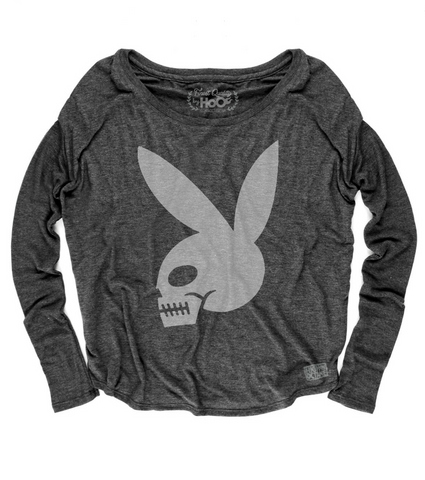 Women's High on Octane® Skull Bunny© Loose Fit Long Sleeve Top