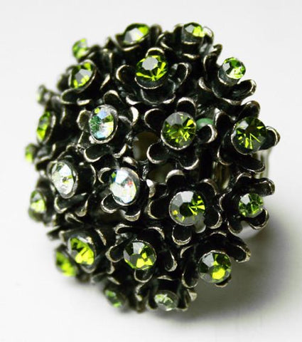 Rhinestone Flower Antique Silver Ring (Green)